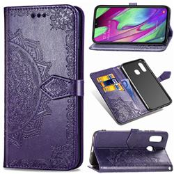Embossing Imprint Mandala Flower Leather Wallet Case for Samsung Galaxy A40 - Purple