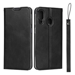 Calf Pattern Magnetic Automatic Suction Leather Wallet Case for Samsung Galaxy A40 - Black