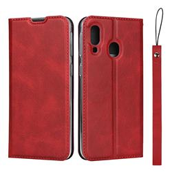 Calf Pattern Magnetic Automatic Suction Leather Wallet Case for Samsung Galaxy A40 - Red