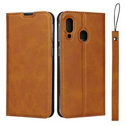 Calf Pattern Magnetic Automatic Suction Leather Wallet Case for Samsung Galaxy A40 - Brown