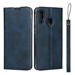 Calf Pattern Magnetic Automatic Suction Leather Wallet Case for Samsung Galaxy A40 - Blue