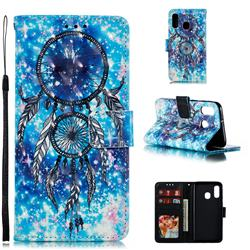 Blue Wind Chime 3D Painted Leather Phone Wallet Case for Samsung Galaxy A40