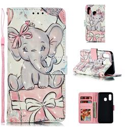 Bow Elephant 3D Painted Leather Phone Wallet Case for Samsung Galaxy A40
