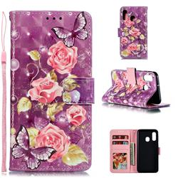 Purple Butterfly Flower 3D Painted Leather Phone Wallet Case for Samsung Galaxy A40