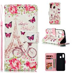 Bicycle Flower Tower 3D Painted Leather Phone Wallet Case for Samsung Galaxy A40