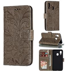 Intricate Embossing Lace Jasmine Flower Leather Wallet Case for Samsung Galaxy A40 - Gray