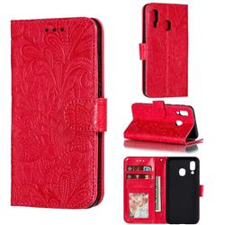 Intricate Embossing Lace Jasmine Flower Leather Wallet Case for Samsung Galaxy A40 - Red