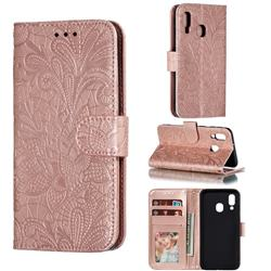 Intricate Embossing Lace Jasmine Flower Leather Wallet Case for Samsung Galaxy A40 - Rose Gold