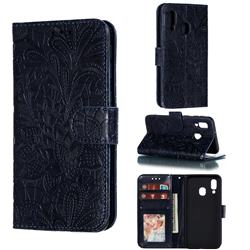 Intricate Embossing Lace Jasmine Flower Leather Wallet Case for Samsung Galaxy A40 - Dark Blue