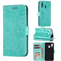 Intricate Embossing Lace Jasmine Flower Leather Wallet Case for Samsung Galaxy A40 - Green
