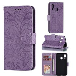 Intricate Embossing Lace Jasmine Flower Leather Wallet Case for Samsung Galaxy A40 - Purple