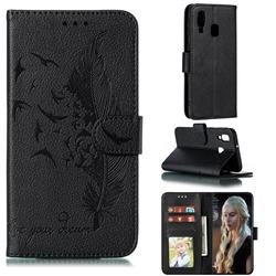 Intricate Embossing Lychee Feather Bird Leather Wallet Case for Samsung Galaxy A40 - Black