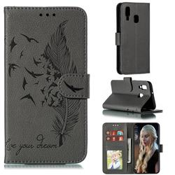 Intricate Embossing Lychee Feather Bird Leather Wallet Case for Samsung Galaxy A40 - Gray