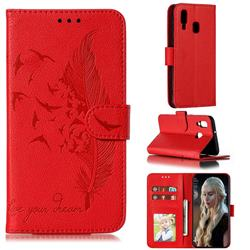 Intricate Embossing Lychee Feather Bird Leather Wallet Case for Samsung Galaxy A40 - Red
