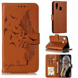 Intricate Embossing Lychee Feather Bird Leather Wallet Case for Samsung Galaxy A40 - Brown
