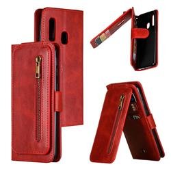 Multifunction 9 Cards Leather Zipper Wallet Phone Case for Samsung Galaxy A40 - Red