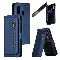 Multifunction 9 Cards Leather Zipper Wallet Phone Case for Samsung Galaxy A40 - Blue