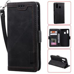 Luxury Retro Stitching Leather Wallet Phone Case for Samsung Galaxy A40 - Black