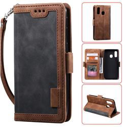 Luxury Retro Stitching Leather Wallet Phone Case for Samsung Galaxy A40 - Gray