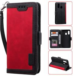 Luxury Retro Stitching Leather Wallet Phone Case for Samsung Galaxy A40 - Deep Red