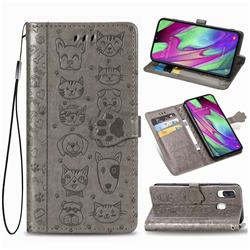 Embossing Dog Paw Kitten and Puppy Leather Wallet Case for Samsung Galaxy A40 - Gray