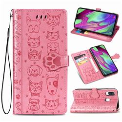 Embossing Dog Paw Kitten and Puppy Leather Wallet Case for Samsung Galaxy A40 - Pink