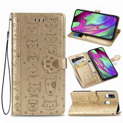 Embossing Dog Paw Kitten and Puppy Leather Wallet Case for Samsung Galaxy A40 - Champagne Gold
