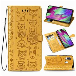Embossing Dog Paw Kitten and Puppy Leather Wallet Case for Samsung Galaxy A40 - Yellow