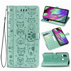 Embossing Dog Paw Kitten and Puppy Leather Wallet Case for Samsung Galaxy A40 - Green