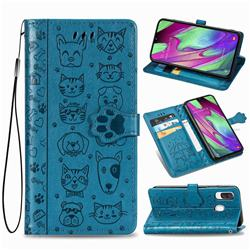 Embossing Dog Paw Kitten and Puppy Leather Wallet Case for Samsung Galaxy A40 - Blue