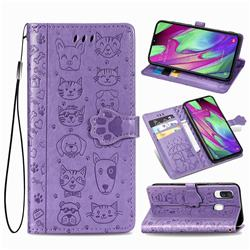 Embossing Dog Paw Kitten and Puppy Leather Wallet Case for Samsung Galaxy A40 - Purple