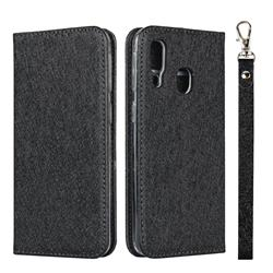 Ultra Slim Magnetic Automatic Suction Silk Lanyard Leather Flip Cover for Samsung Galaxy A40 - Black