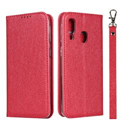 Ultra Slim Magnetic Automatic Suction Silk Lanyard Leather Flip Cover for Samsung Galaxy A40 - Red