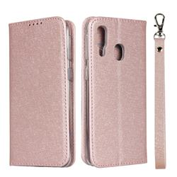Ultra Slim Magnetic Automatic Suction Silk Lanyard Leather Flip Cover for Samsung Galaxy A40 - Rose Gold