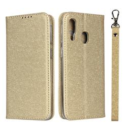 Ultra Slim Magnetic Automatic Suction Silk Lanyard Leather Flip Cover for Samsung Galaxy A40 - Golden