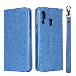 Ultra Slim Magnetic Automatic Suction Silk Lanyard Leather Flip Cover for Samsung Galaxy A40 - Sky Blue