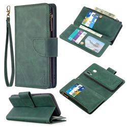 Binfen Color BF02 Sensory Buckle Zipper Multifunction Leather Phone Wallet for Samsung Galaxy A40 - Dark Green
