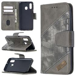 BinfenColor BF04 Color Block Stitching Crocodile Leather Case Cover for Samsung Galaxy A40 - Gray