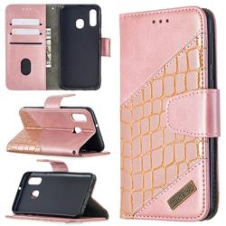 BinfenColor BF04 Color Block Stitching Crocodile Leather Case Cover for Samsung Galaxy A40 - Rose Gold
