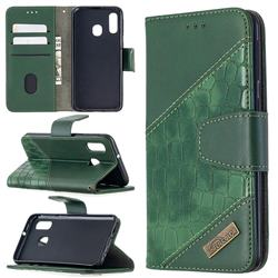 BinfenColor BF04 Color Block Stitching Crocodile Leather Case Cover for Samsung Galaxy A40 - Green