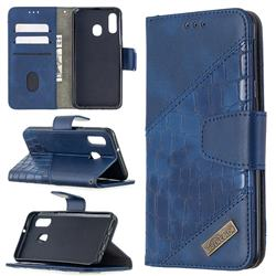 BinfenColor BF04 Color Block Stitching Crocodile Leather Case Cover for Samsung Galaxy A40 - Blue