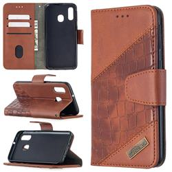 BinfenColor BF04 Color Block Stitching Crocodile Leather Case Cover for Samsung Galaxy A40 - Brown