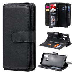 Multi-function Ten Card Slots and Photo Frame PU Leather Wallet Phone Case Cover for Samsung Galaxy A40 - Black
