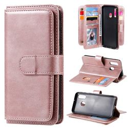 Multi-function Ten Card Slots and Photo Frame PU Leather Wallet Phone Case Cover for Samsung Galaxy A40 - Rose Gold