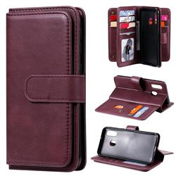 Multi-function Ten Card Slots and Photo Frame PU Leather Wallet Phone Case Cover for Samsung Galaxy A40 - Claret