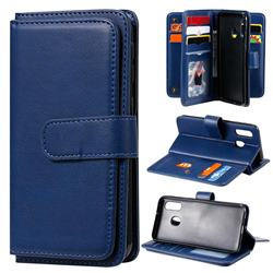 Multi-function Ten Card Slots and Photo Frame PU Leather Wallet Phone Case Cover for Samsung Galaxy A40 - Dark Blue