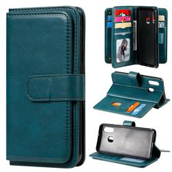 Multi-function Ten Card Slots and Photo Frame PU Leather Wallet Phone Case Cover for Samsung Galaxy A40 - Dark Green