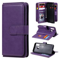Multi-function Ten Card Slots and Photo Frame PU Leather Wallet Phone Case Cover for Samsung Galaxy A40 - Violet