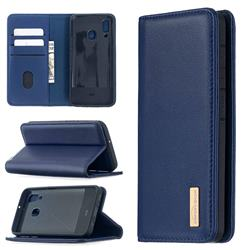 Binfen Color BF06 Luxury Classic Genuine Leather Detachable Magnet Holster Cover for Samsung Galaxy A40 - Blue