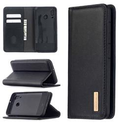 Binfen Color BF06 Luxury Classic Genuine Leather Detachable Magnet Holster Cover for Samsung Galaxy A40 - Black